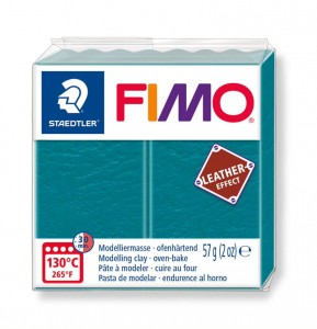 Modelina Fimo Leather Effect 57g, kolor 369 LAGUNE - BŁĘKITNA LAGUNA